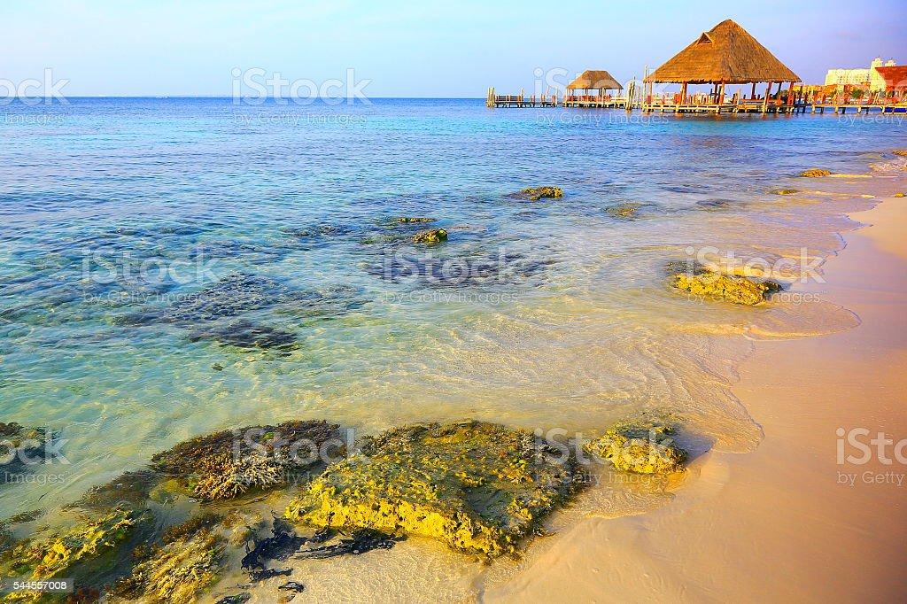 Gazebo / palapa - idyllic turquoise beach sunset - Cancun, Mexican caribbean stock photo