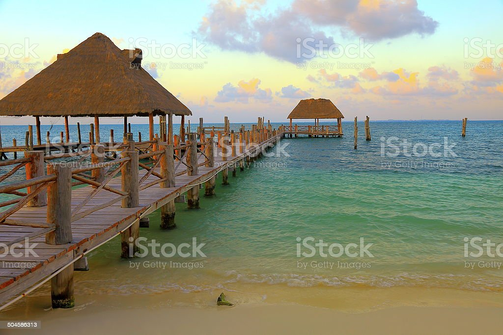 Gazebo Palapa Spa in Cancun beach at sunset, Caribbean stock photo