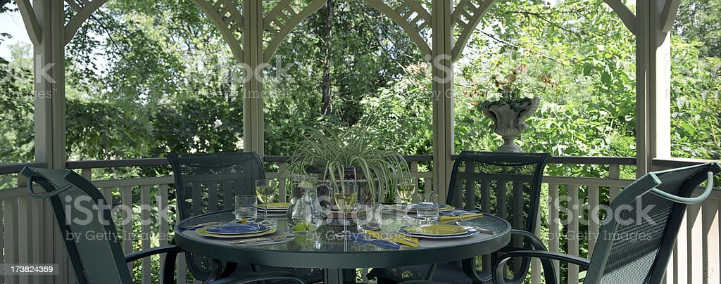 Gazebo table setting royalty-free stock photo
