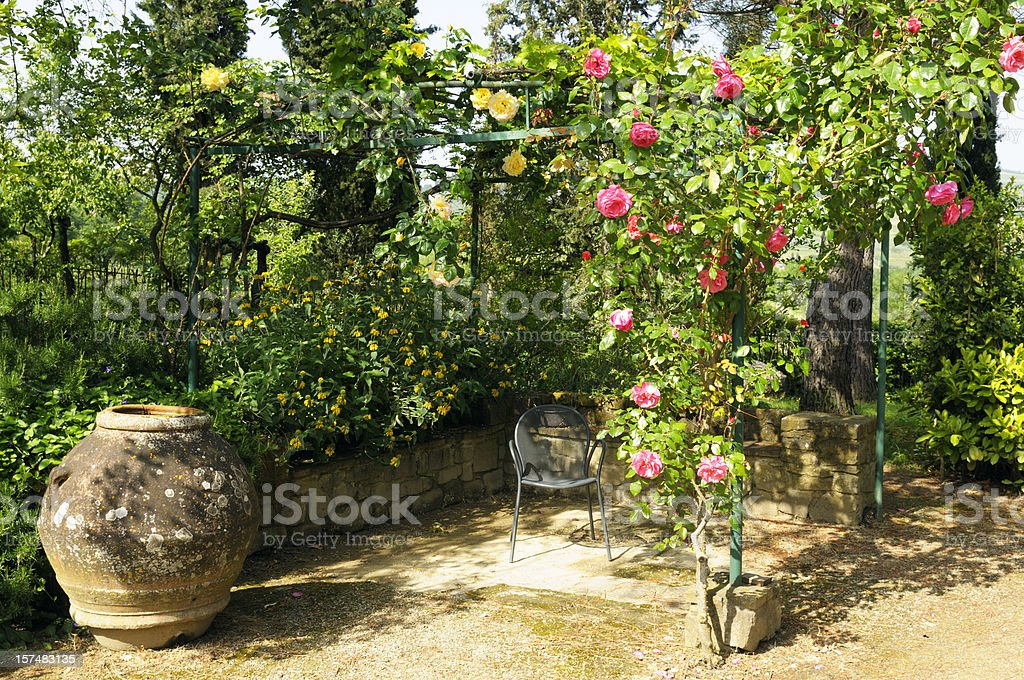 Gazebo with Roses stock photo