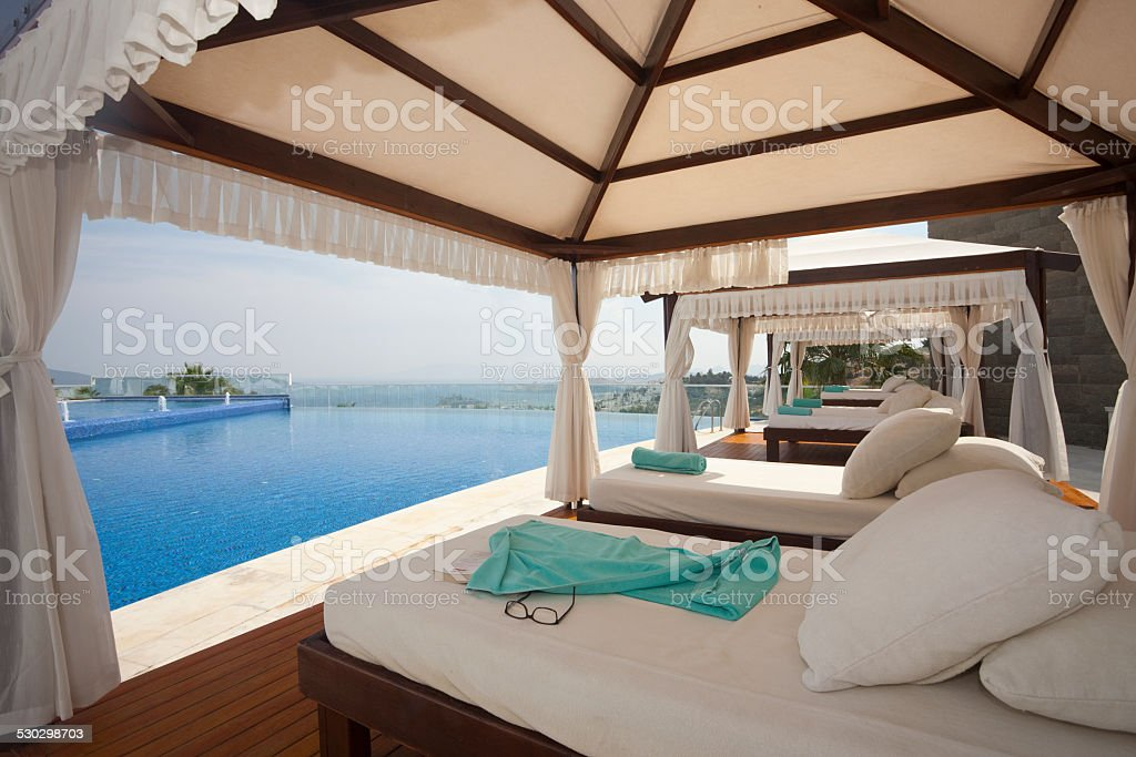 gazebo with seaview stock photo