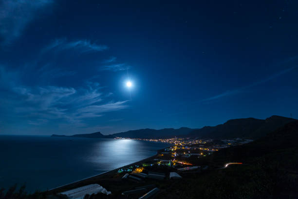 gazipasa of antalya - romantic moon stock photos and pictures