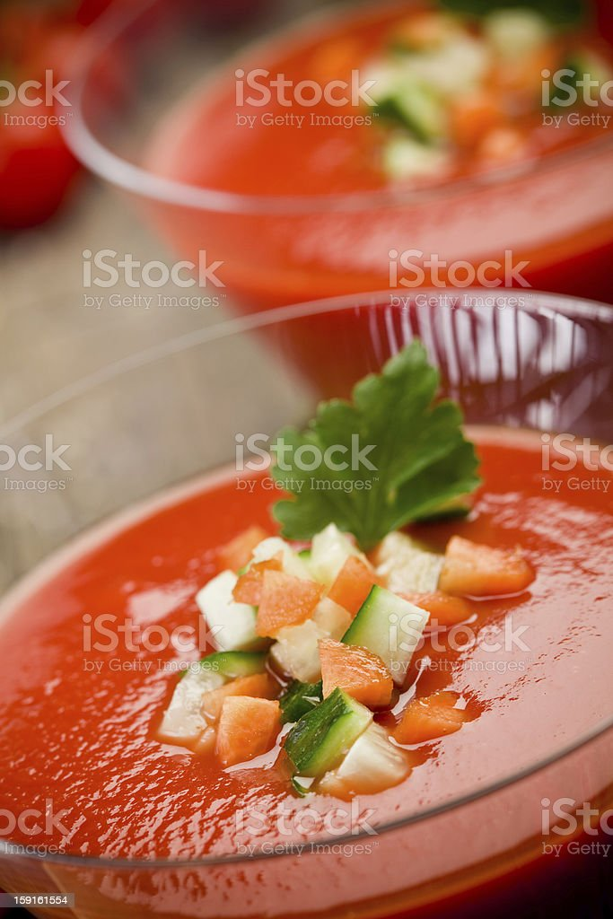 Gazpacho on wooden table stock photo