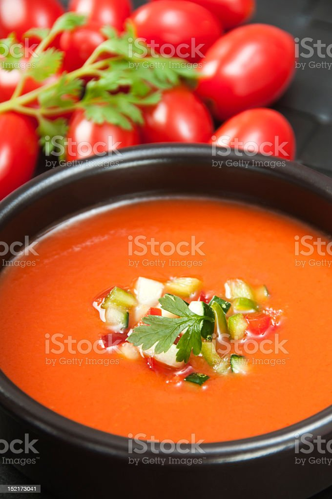 Gazpacho lub Zupa pomidorowa zbiór zdjęć royalty-free