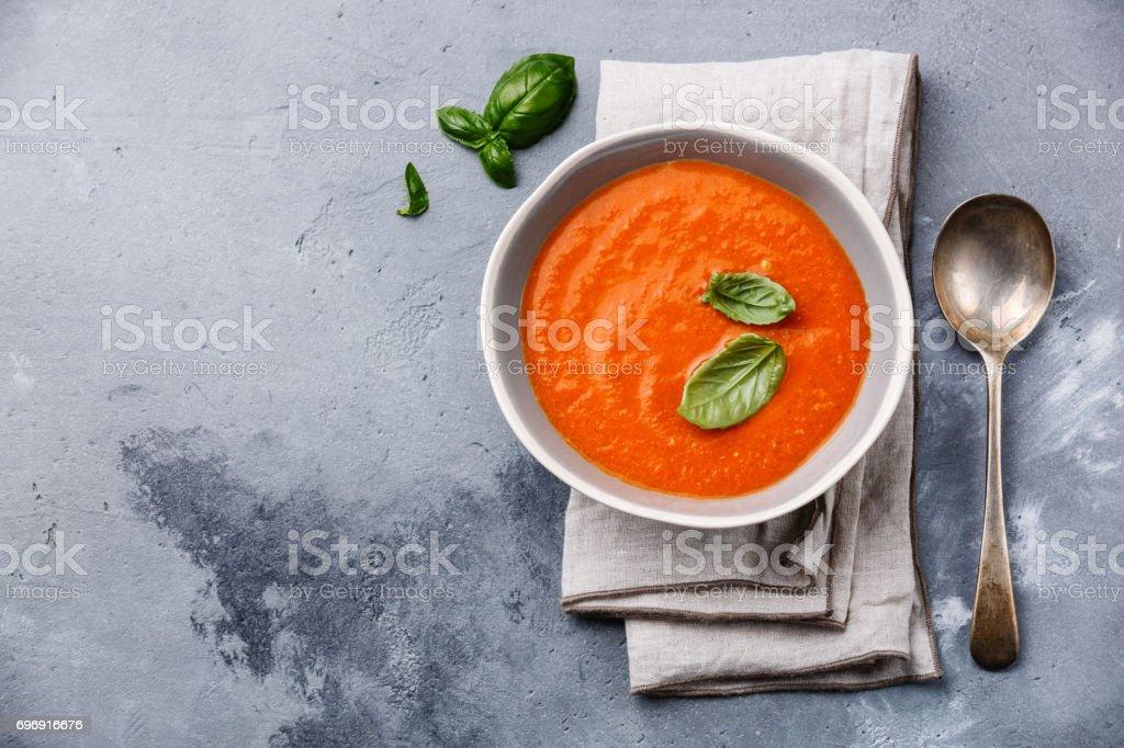 Gazpacho soup with green basil stock photo