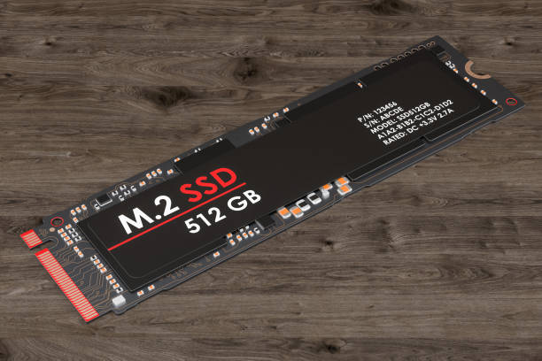 M2 SSD 512 gb, 3D rendering isolated on white background stock photo