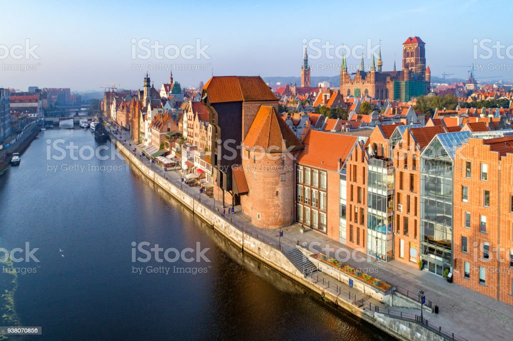 Gdansk old city, Poland. Aerial view at sunrise stock photo