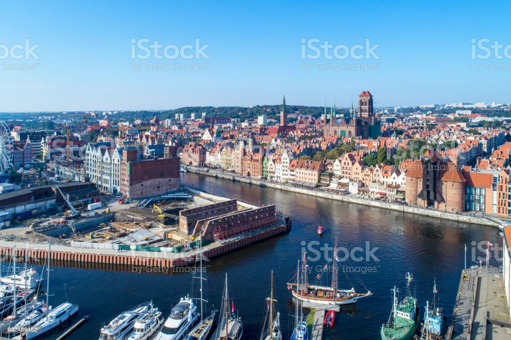Gdansk old city, Poland. Aerial view with main monuments, ruins, building site, yachts stock photo