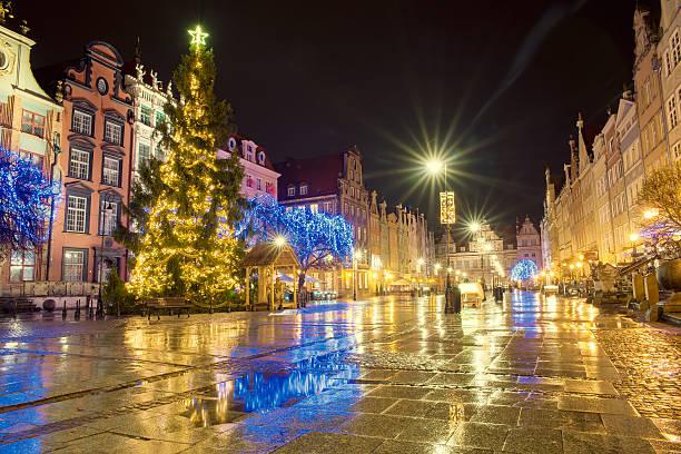 danzig  - weihnachtsstadt stock-fotos und bilder