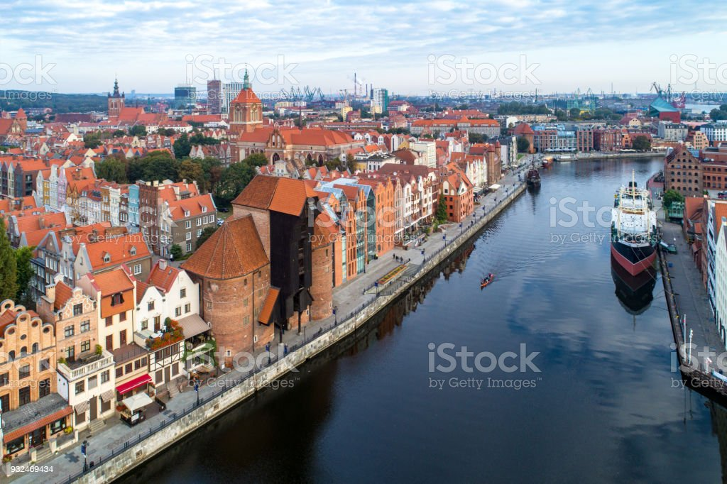 Gdansk, Poland. Old city and Motlawa River. Aerial view stock photo