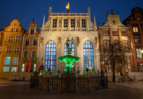 Gdansk, Poland, old town, Statue of Neptune, symbol of Gdansk, with Artus Court in the back.