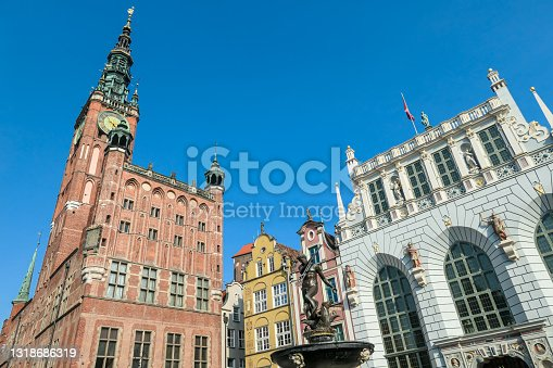 istock Gdansk - The Neptune's Fountain in Old Town of Gdansk, Poland. The fountain is located in the central point 1318686319