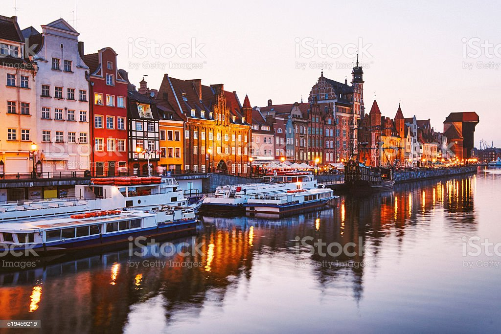 Gdansk town the shore of the river Motlawa stock photo