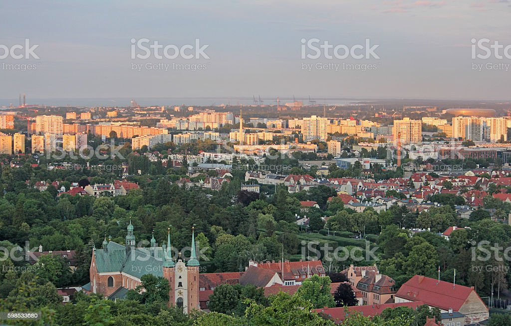 Gdansk View from the heights into the sunset. Poland. photo libre de droits