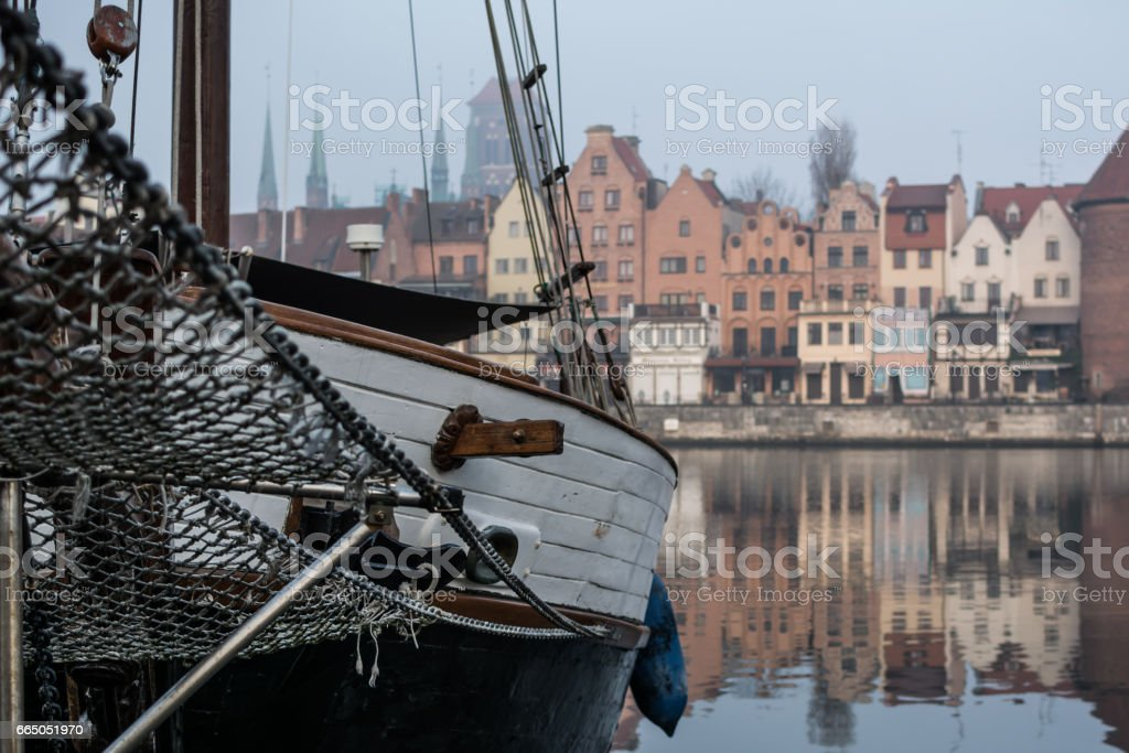 Gdansk waterfront with yacht in the foreground. stock photo
