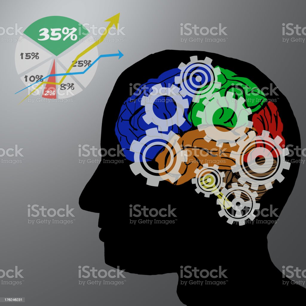 Gear and Brain in concept stock photo