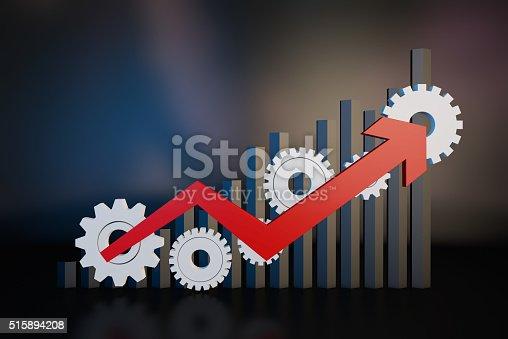 istock Gear and economic arrow 515894208