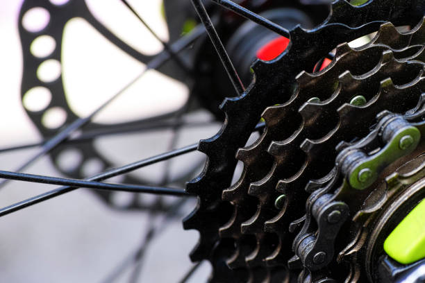 Gear cassette on bicycle stock photo