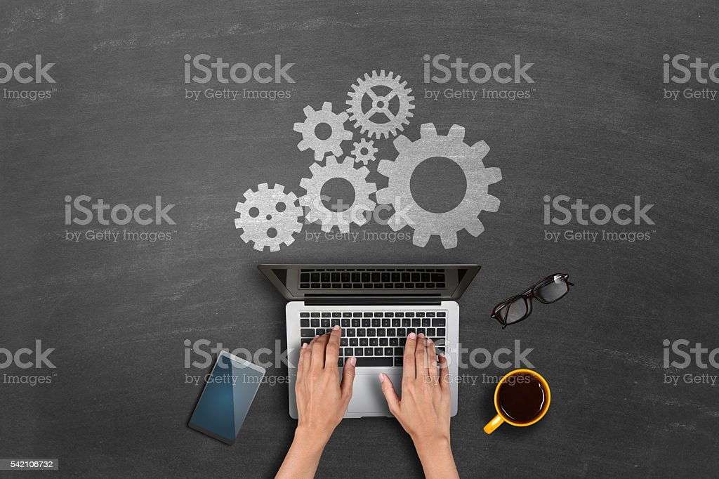 Gear concept on blackboard stock photo