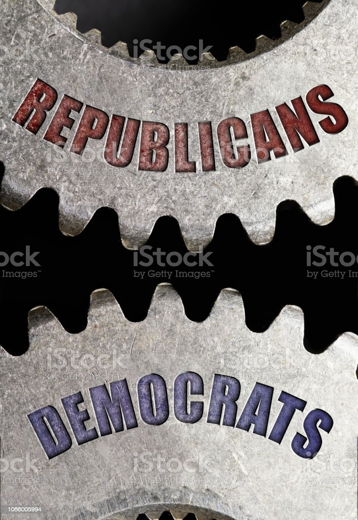 Showing Democrats and Republican Political parties on gears for...