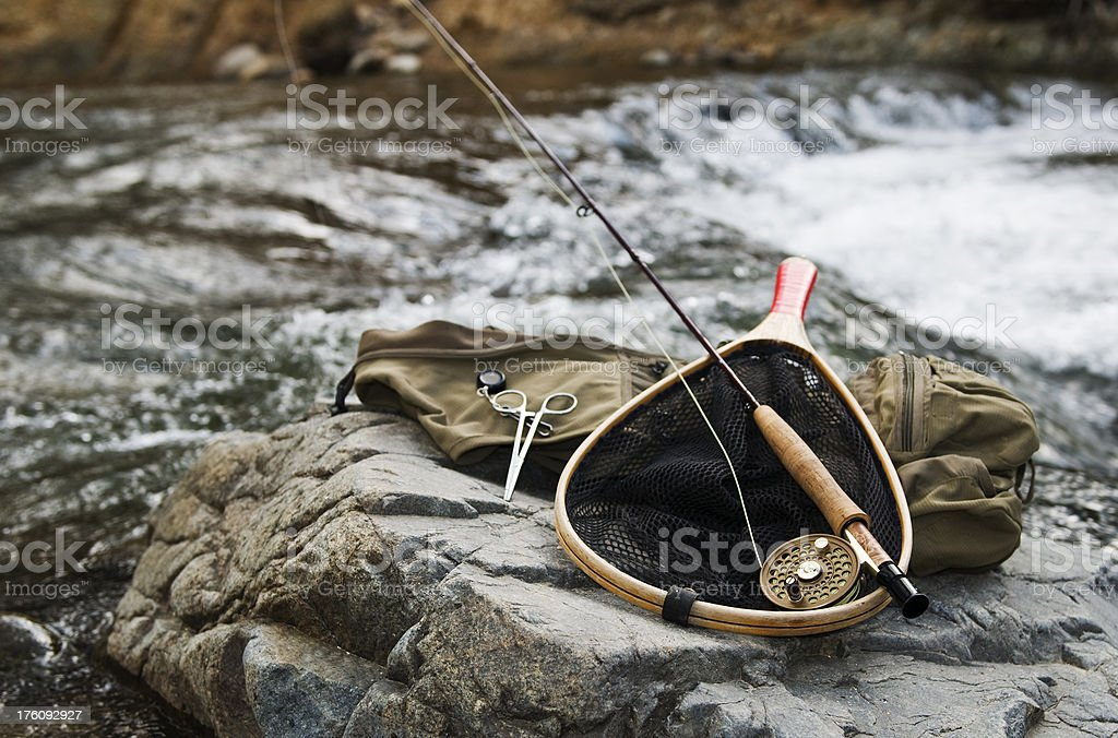 Gear for fly fishing stock photo