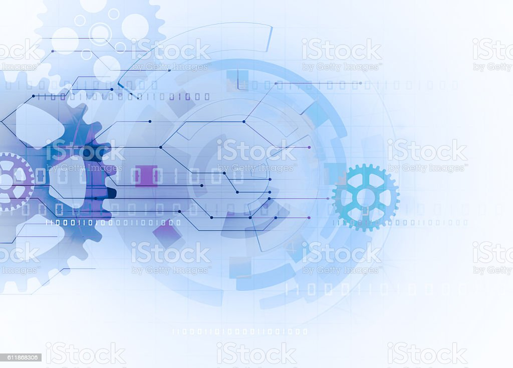 gear futuristic technology background stock photo
