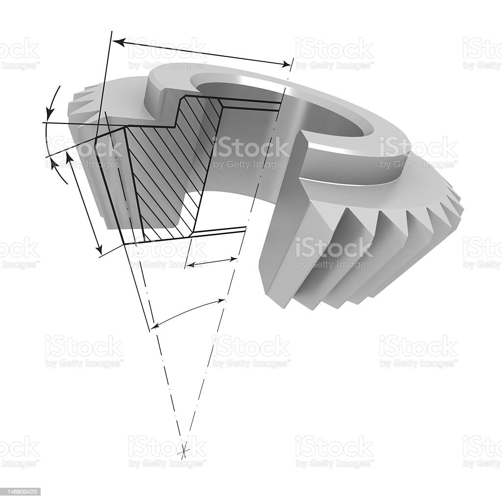 .Gear in the section and drawing #2 royalty-free stock photo