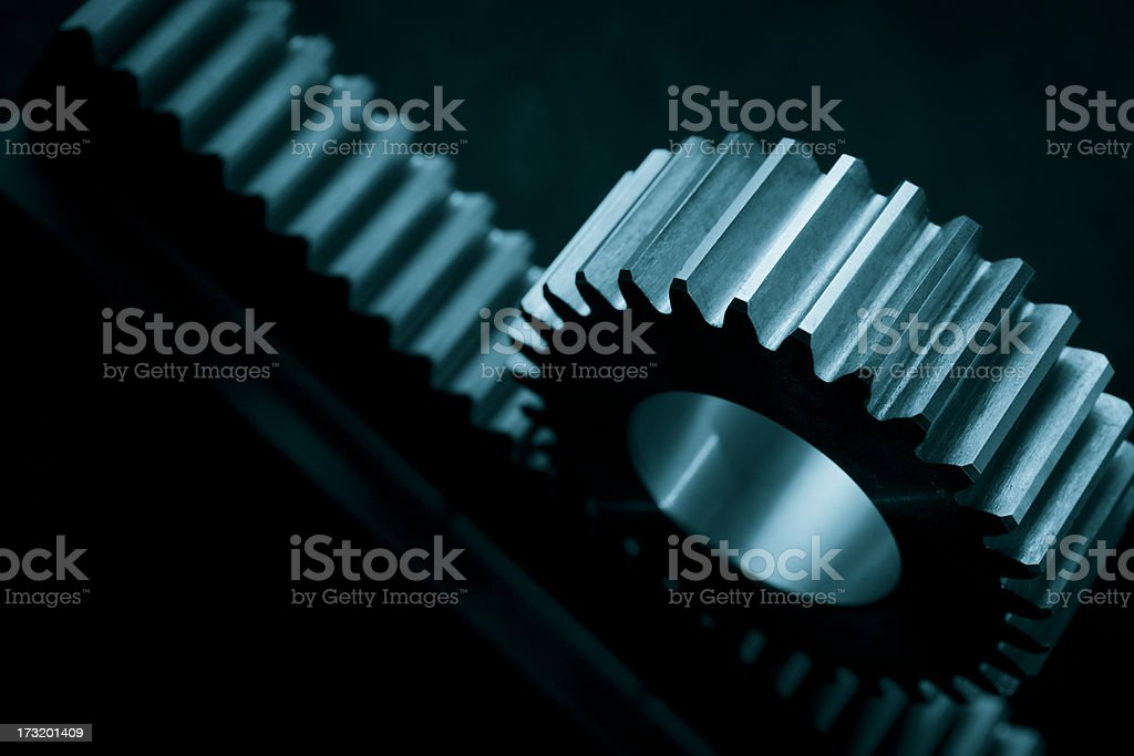 Gear matching on track stock photo