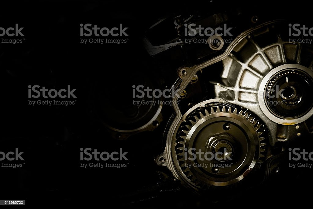 Gear motor cars on black background stock photo