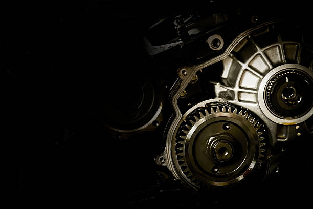 Gear motor cars on black background Gear motor cars on black background vehicle clutch stock pictures, royalty-free photos & images