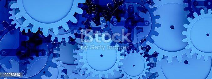 3d render Gears on blue background, minimal teamwork concept, togetherness, progress, technology.