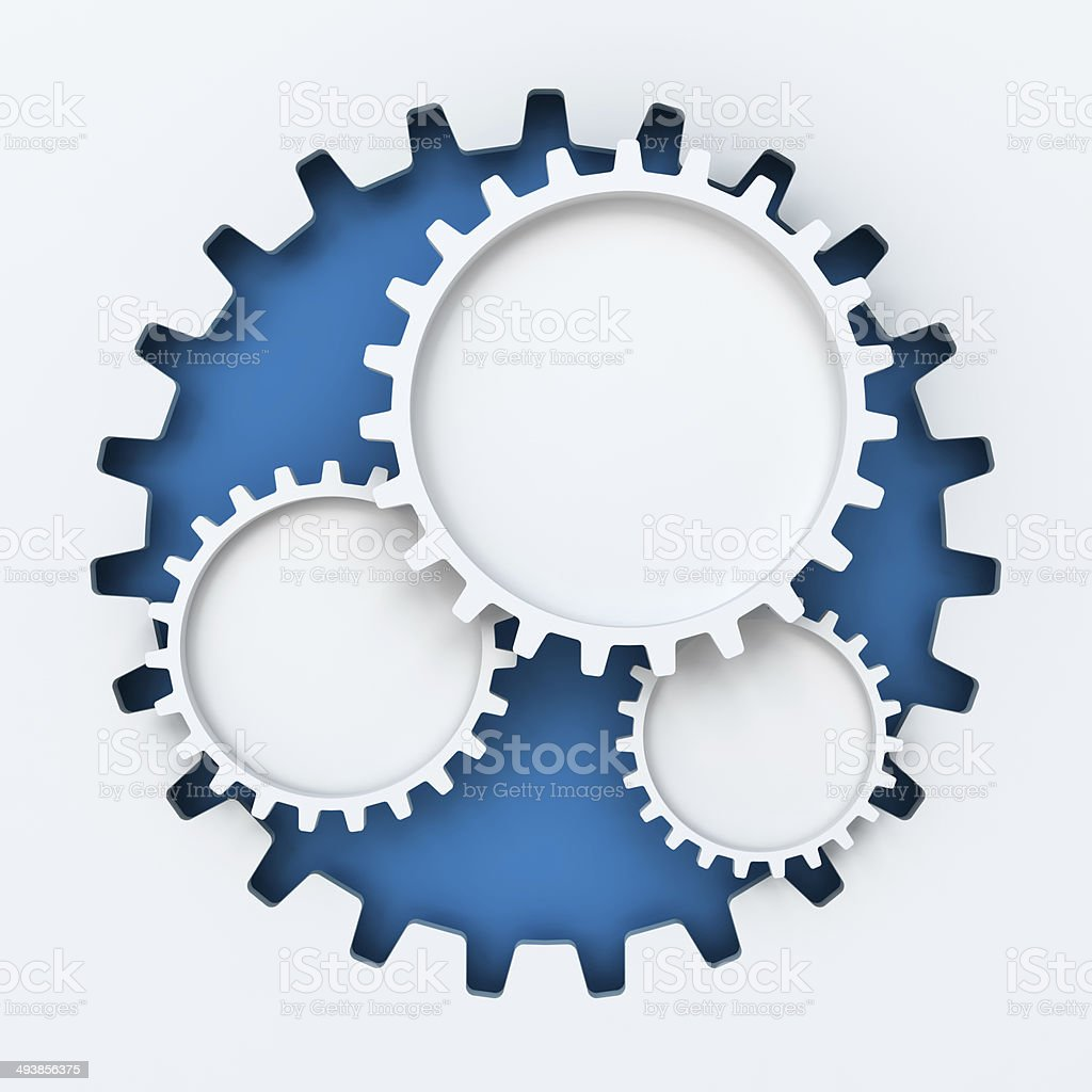Gear paper cutout infographic with copyspace royalty-free stock photo
