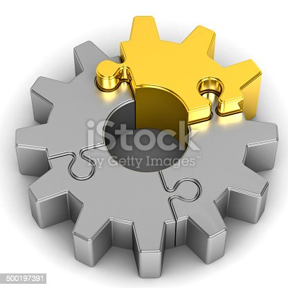 istock gear puzzle on white background 500197391