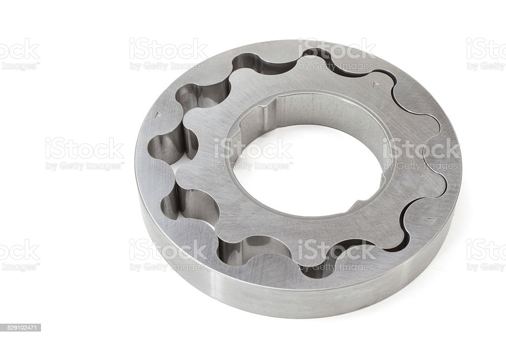 gear set oil pump on a white background. engine Parts stock photo