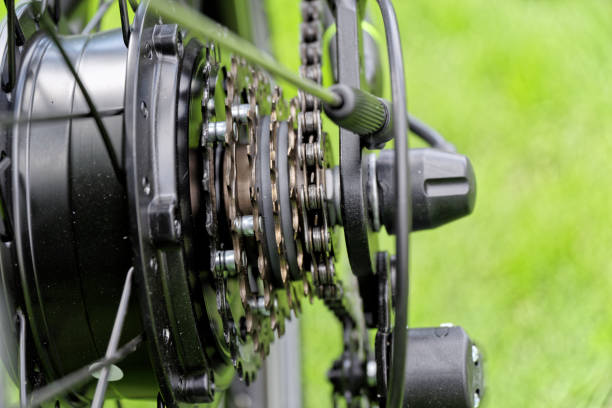 Gear shift system of bicycle stock photo
