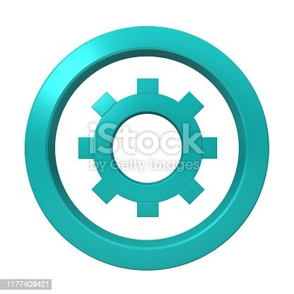gear sign cog wheel symbol icon technology work in progress graphic light blue 3d render graphic logo button isolated on white background