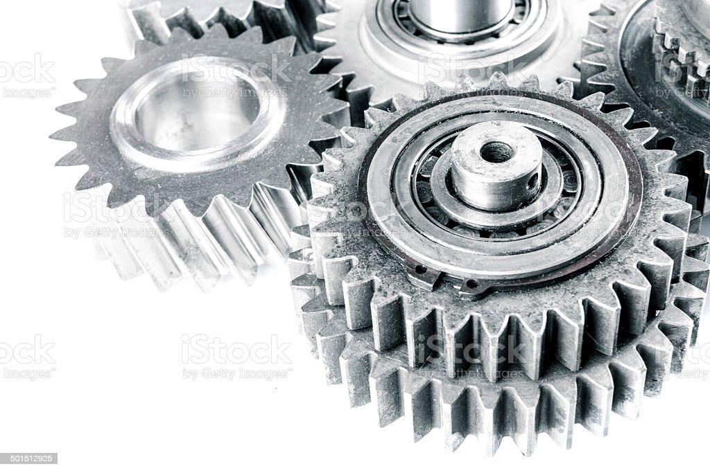 Ausrüstung Übertragung Mechanik und Stahl cog Rädern mit Maschine putzen Lizenzfreies stock-foto