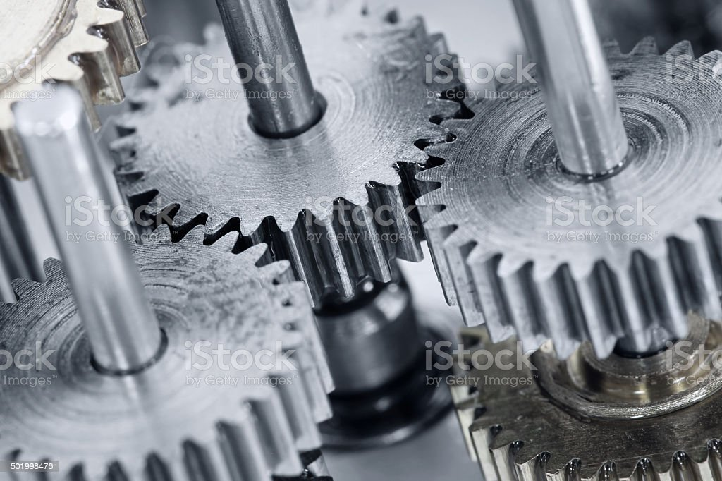 Gear wheels mechanism stock photo