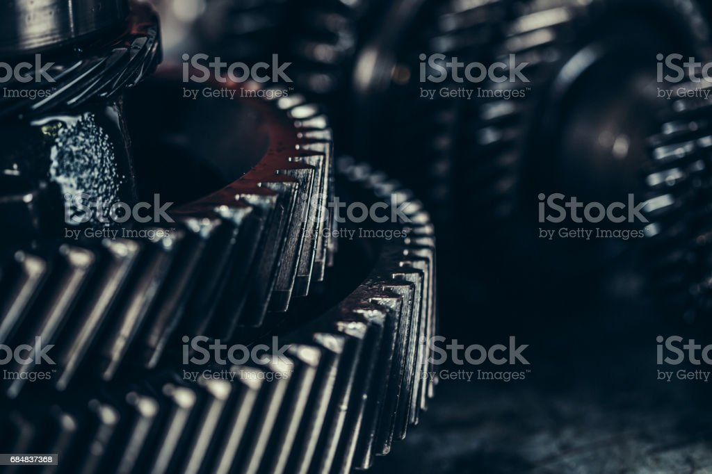 Gearbox metal wheels close-up stock photo