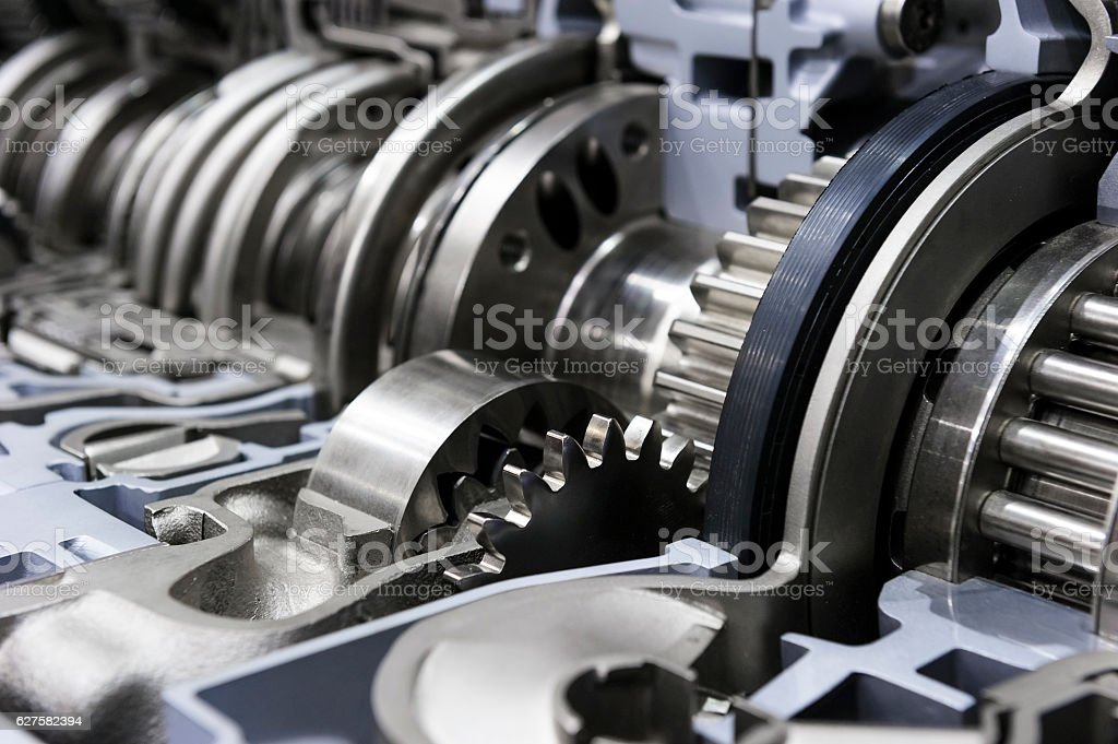 Gearbox of commercial truck stock photo