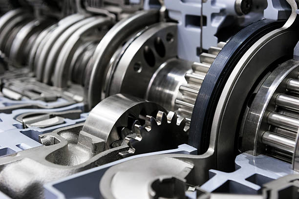 Gearbox of commercial truck Gearbox cross-section, engine industry, sprockets, cogwheels and bearings of automotive transmission for oversize trucks, SUV, cargo, commercial and construction vehicles, selective focus  gearshift stock pictures, royalty-free photos & images