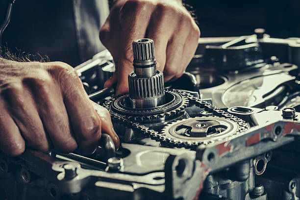 CVT gearbox repair closeup Continuously variable transmission gearbox repair closeup. Stock Photo. gearshift stock pictures, royalty-free photos & images