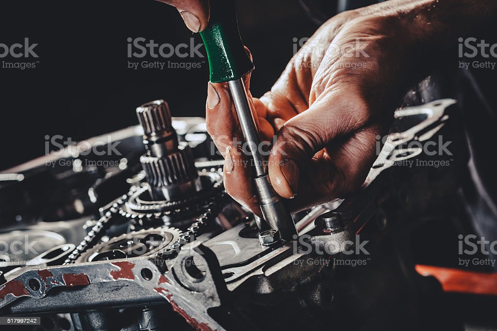 CVT gearbox repair closeup stock photo