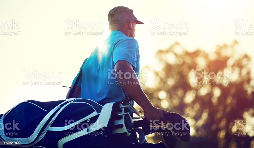 Geared up for a game of golf stock photo