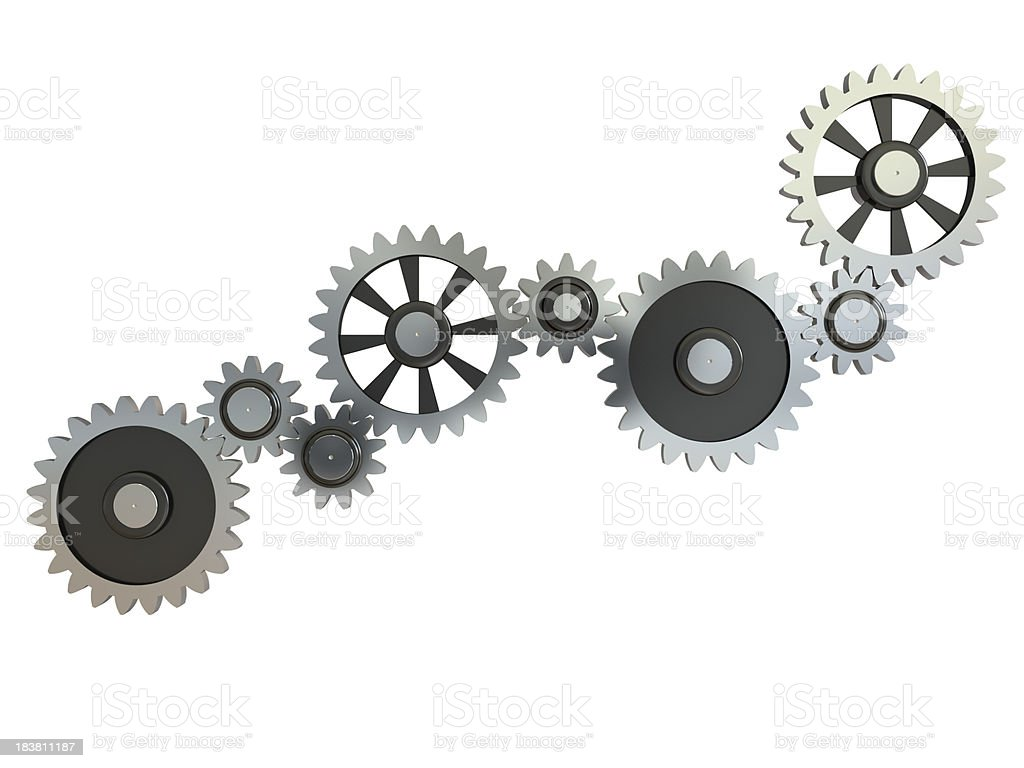 Gearing wheels on white stock photo