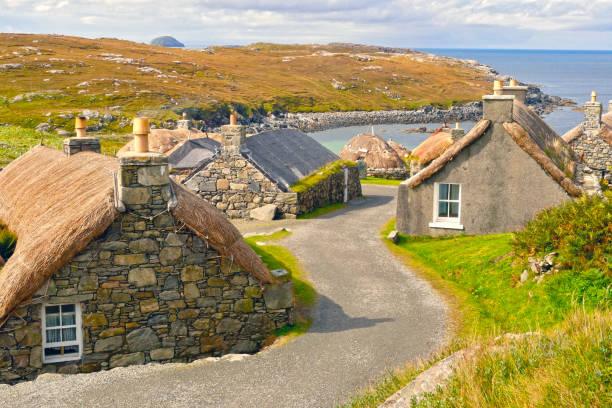 Gearrannan Blackhouse Village, Isle of Lewis, Scotland, UK stock photo