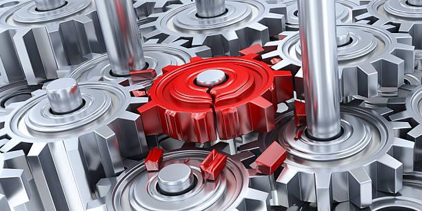 Getriebe und gebrochene roten Ausrüstung – Foto