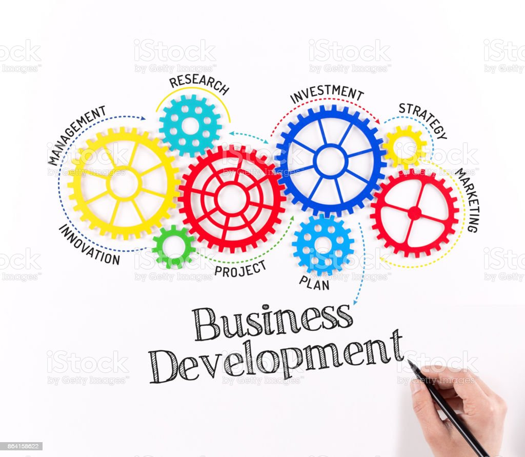 Gears and Business Development Mechanism royalty-free stock photo