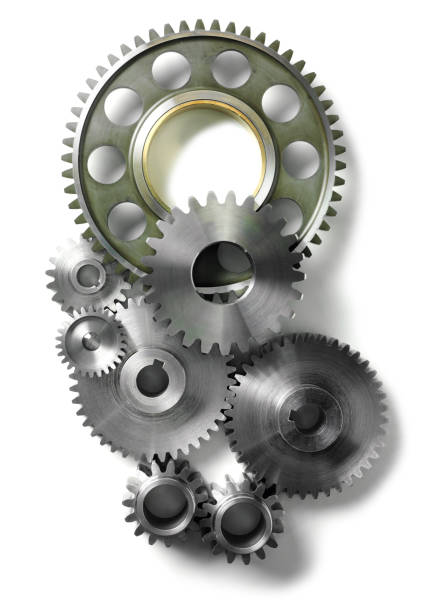 gears and cogs isolated - cog stock photos and pictures