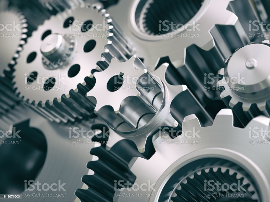 Gears and cogwheels engine  industrial background. stock photo